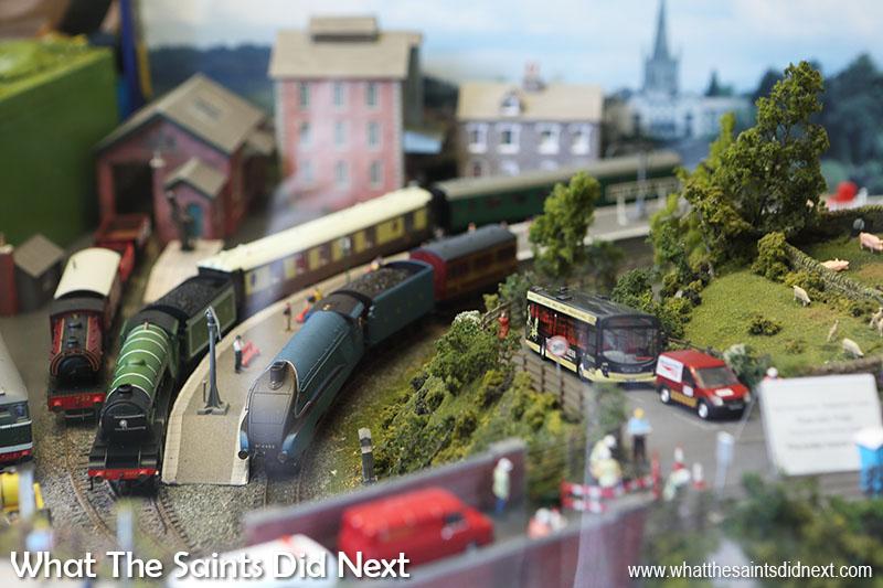 """York model railway a working train set kept us entertained in the <a href=""""http://www.monkbarmodelshop.co.uk/"""" target=""""_blank"""" rel=""""noopener"""">Monk Bar Model toy shop</a> window."""