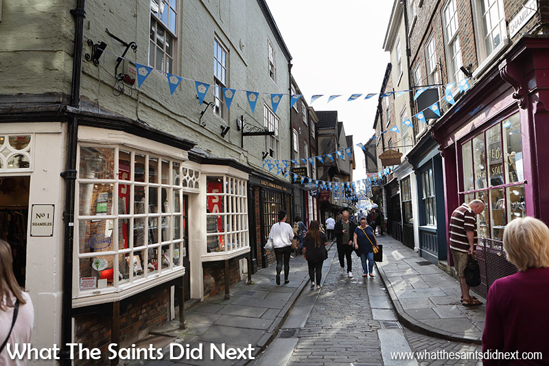 The photogenic shops in York Shambles. Diagon Alley was supposedly modelled on this street.
