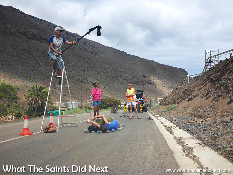 Day 1, shooting First Generation in Rupert's Valley on the Haul Road, site of the African Burial Grounds, St Helena