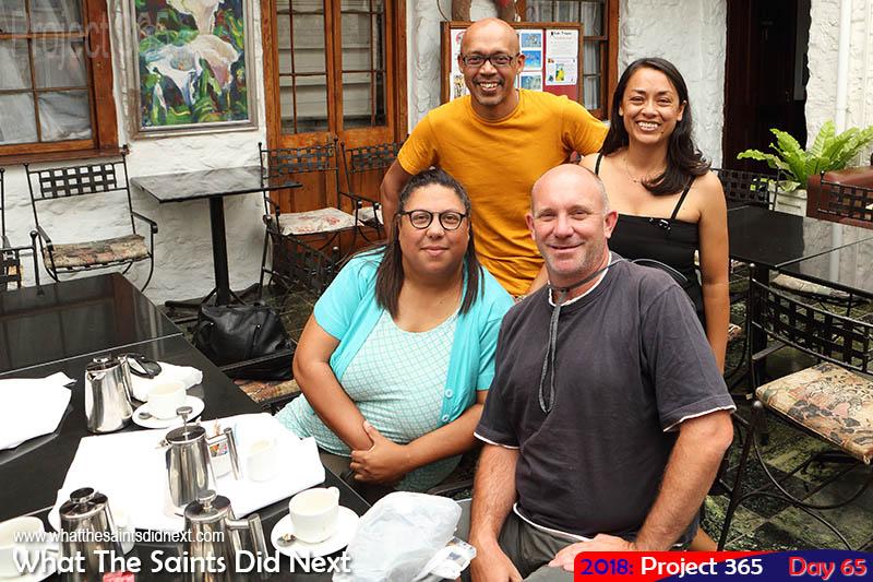 The Saints meeting Jim & Carol George, owners of SH Travel Facebook page.