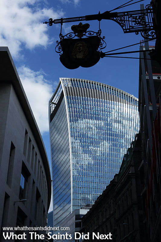 First glimpse of walkie talkie building as we emerge from the London Underground. The Sky Garden is right at the top.