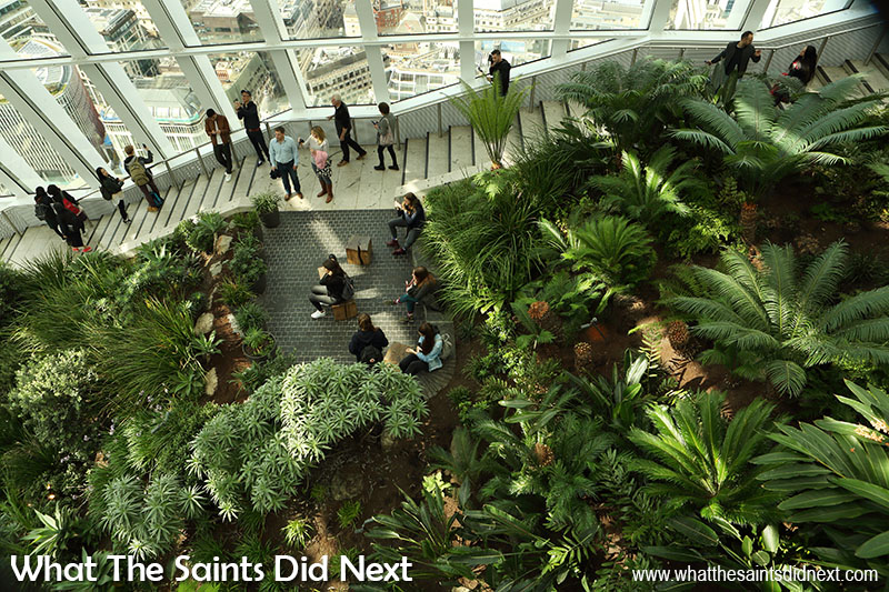 Looking down on the canopy of the Sky Garden in London and the stairway leading to the top level.