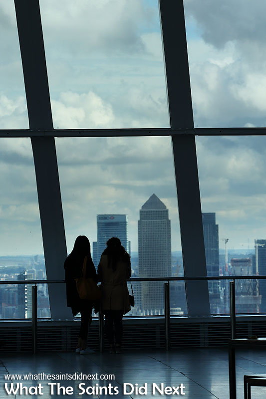 Checking out the London sky scrapers of Canary Wharf from the Walkie Talkie London.