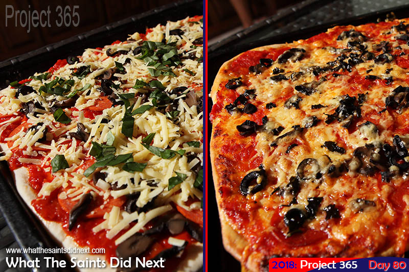 Homemade pizza, before and after the oven.