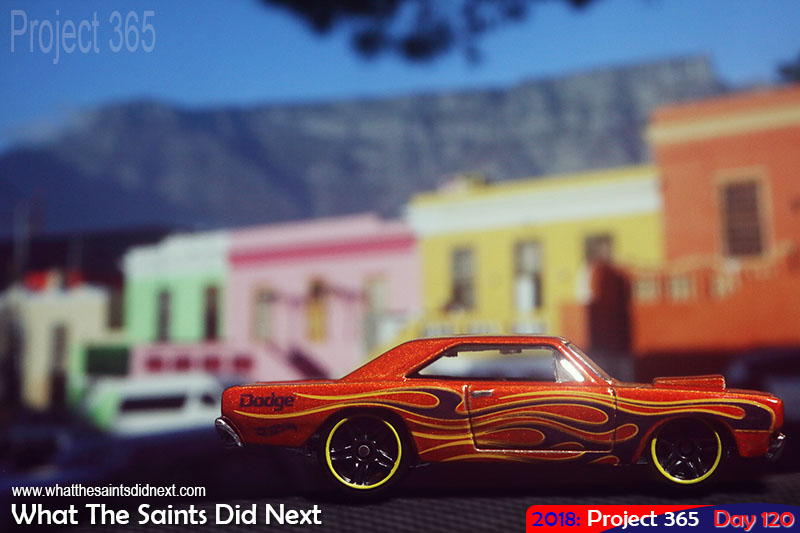 Macro concept shot - Hot wheels Dodge on the streets of Cape Town.