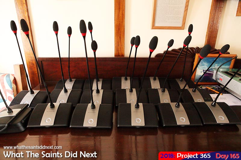 Council Chambers desk microphones.