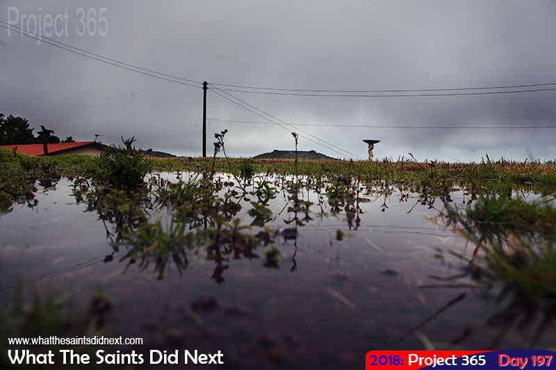 Large puddles after a period of sustained heavy rains across the island.