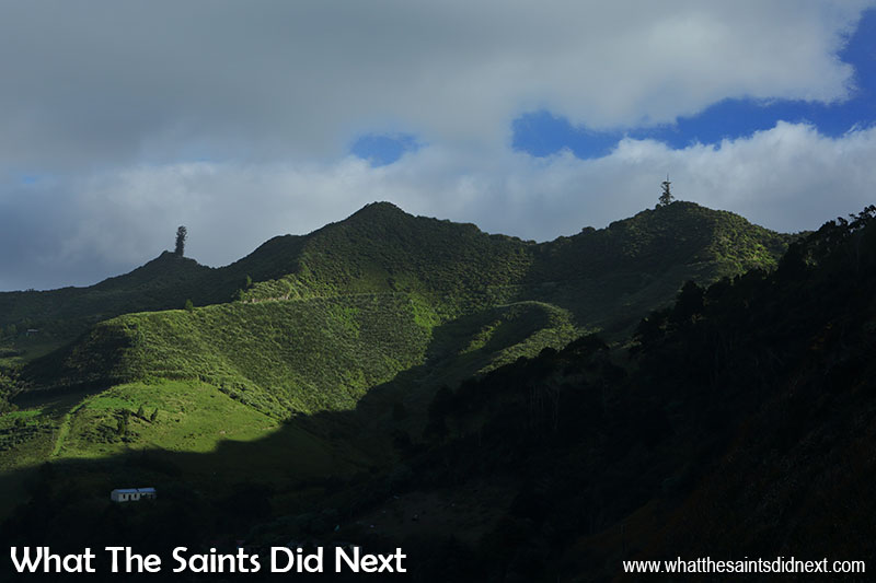Highest Point On St Helena, Diana's Peak in the middle, Mount Actaeon (left) and Cuckold's Point (right).