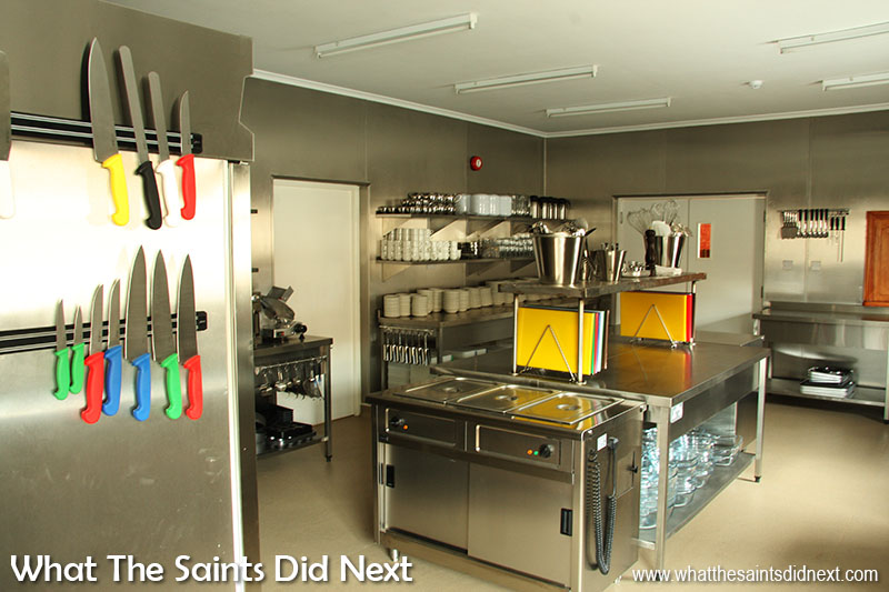 Inside the brand new kitchen at the CCC on St Helena.