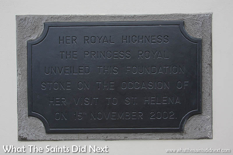 The CCC foundation stone unveiled by Princess Anne, The Princess Royal during her visit to St Helena in 2002.