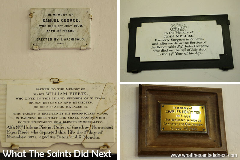A few of the memorial plaques on the walls of the cathedral.