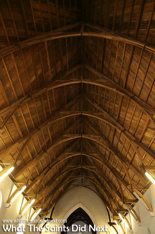 Timber ceiling inside St Pauls Cathedral. The up side down Noah's Ark.
