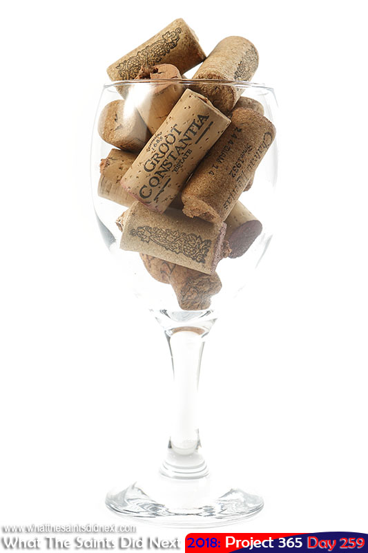 Wine glass cork collection.