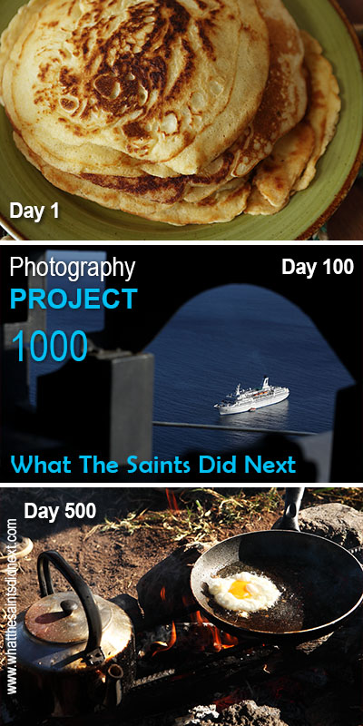 Project 1000, key milestones. Day 1, 1 January 2016, pancakes - Day 100, 9 April 2016, MV Astor - Day 500, 14 May 2017, camping breakfast.