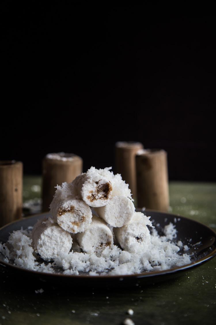 Indonesian Putu Bambu (Steamed Rice Cake in Bamboo)