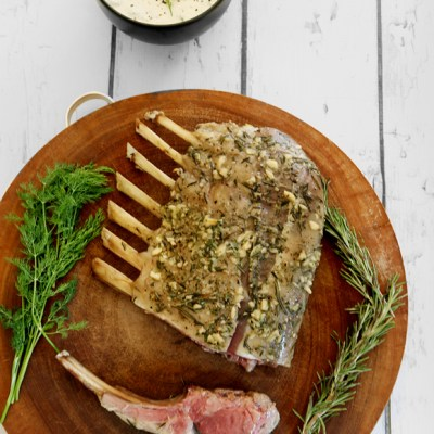 ROAST RACK OF LAMB WITH ROSEMARY AND TZATZIKI