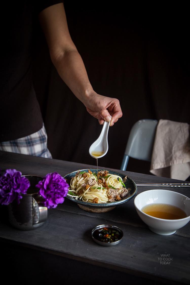 Hakka Pulled Pork Noodles with Cracklings (Bakmi Khek Medan)