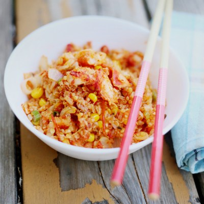 SPICY STIR-FRIED QUINOA WITH LOBSTER TAILS