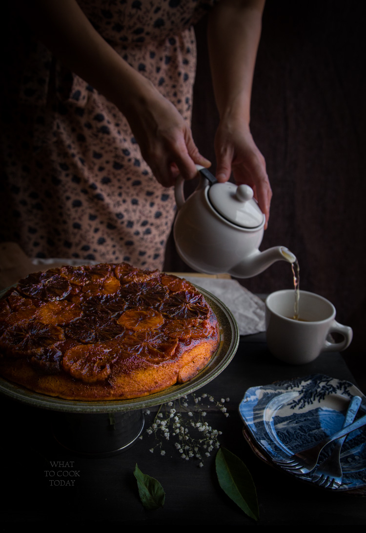 Caramelized blood orange Mandarin ricotta upside down cake