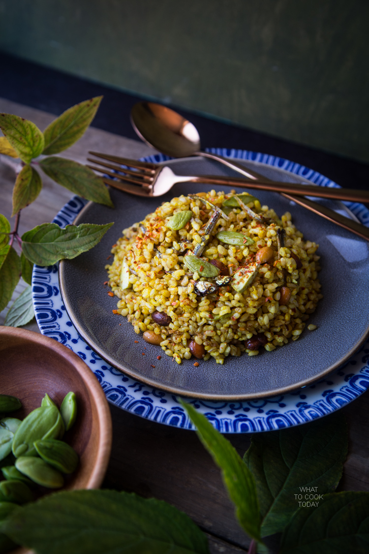 Stink bean fried rice (Nasi goreng petai).Popular Indonesian street food