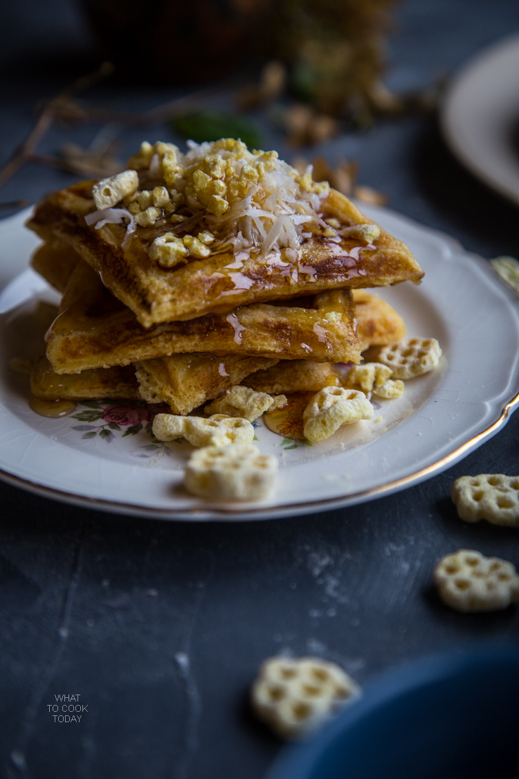 Coconut cereal Belgian waffles Easy delicious Belgian waffles with honey comb cereal #SingWithPost #CerealAnytime #ad