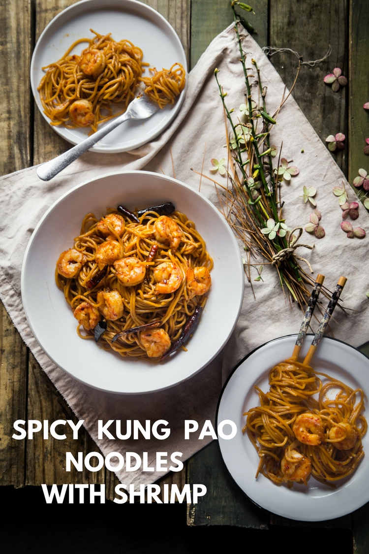 Spicy Kung Pao Noodles with shrimp. Stir-fried in savory, sweet, spicy, and tangy sauce.