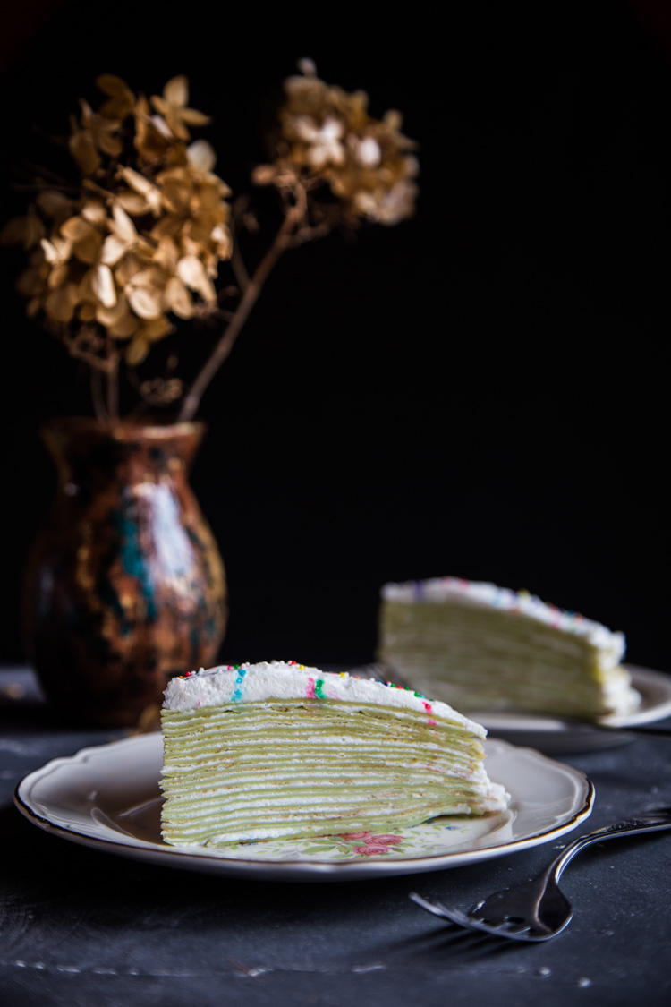 Pandan Mille Crepe cake are layered with delicious thin crepes infused with pandan flavors and stacked up with cream in between layers