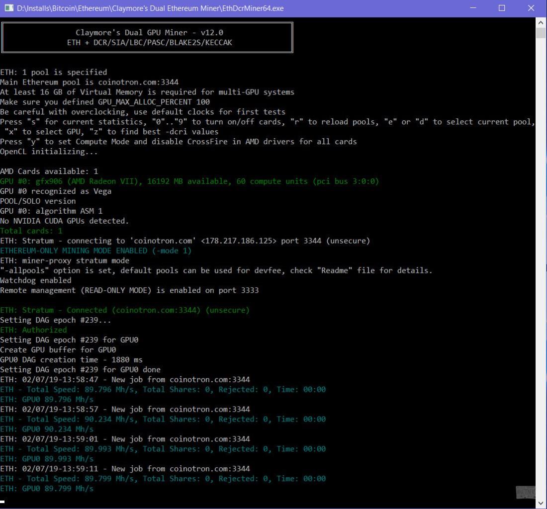 Новая AMD Radeon VII (gfx906) выдаёт ~90 MH/s в майнинге Ethash «из коробки»