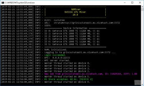 Новый NBMiner 20.0 с поддержкой алгоритма Cuckatoo31
