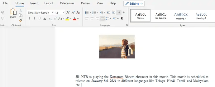 How to insert and format Pictures in word document 1