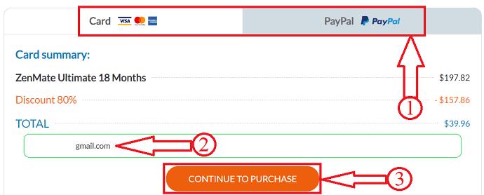 ZenMate payment method