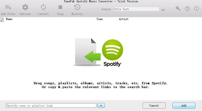 Add files in Spotify music converter