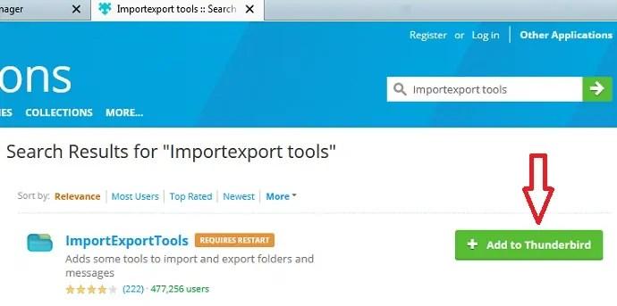 Adding ImportExport Tools to Thunderbird