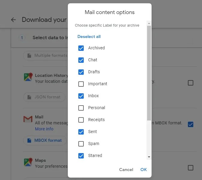 Choosing specific labels of your gmail to download