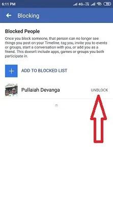 Blocked List and Unblock option on Facebook App