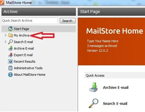 My Archive option on MailStore