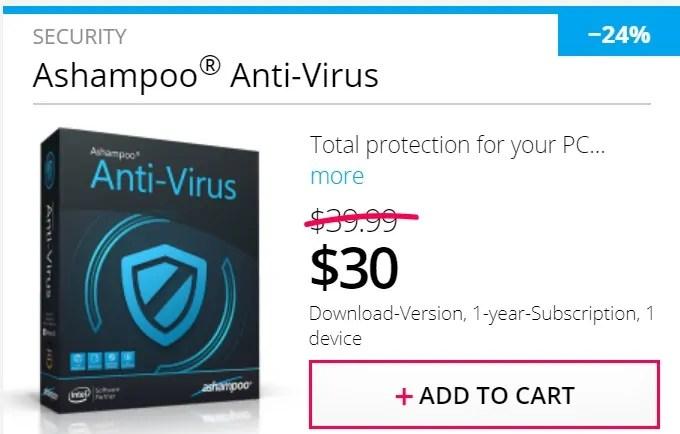 Pricing details of the Ashampoo antivirus