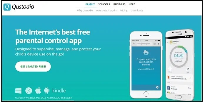 Qustodio-Parental-Control App - web-page-for-iPhone-Android-users