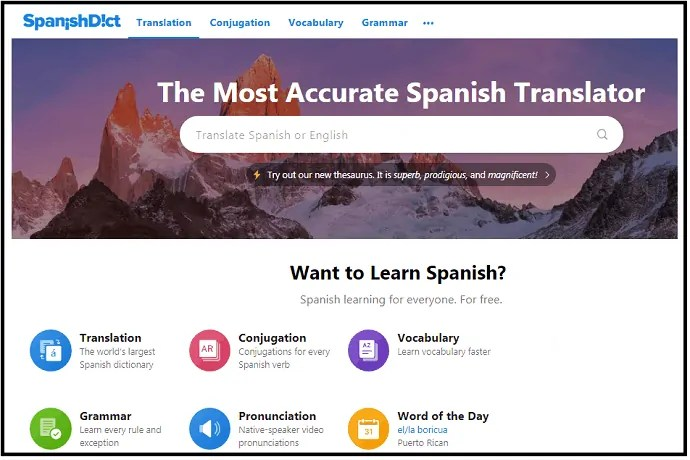 Best Spanish to English dictionary
