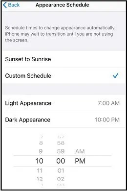 Enabling dark mode on your iPhone at a specific time