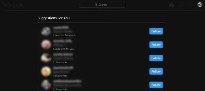 Instagram desktop version-home-page-in-dark-mode