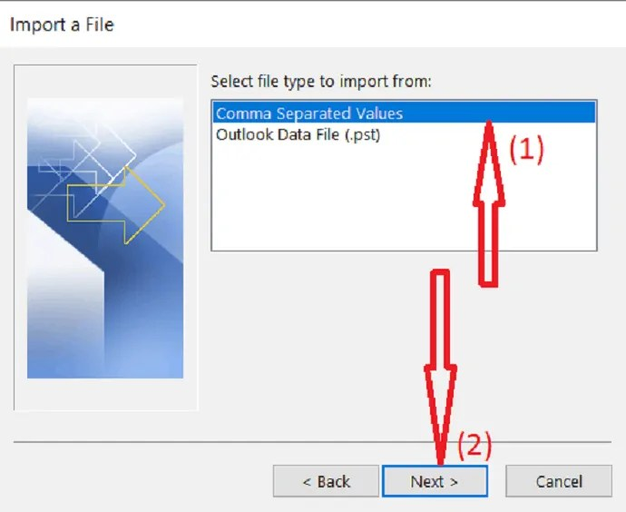 select comma separated values as a file type to import.