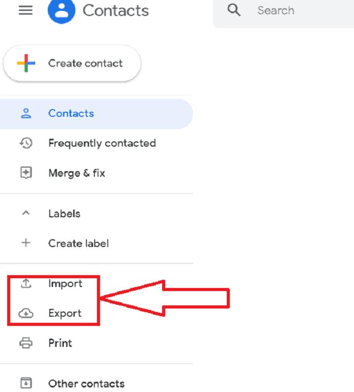 contacts dialogue box.