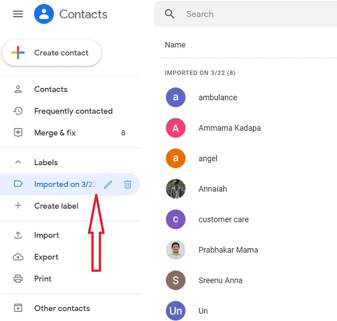contacts are imported in Gmail account.