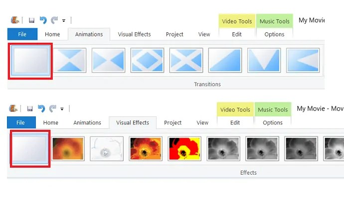 Removing Animation and visual effects to the video.