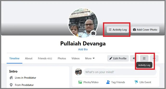 Activity Log-option-in-New Facebook-Profile-Page