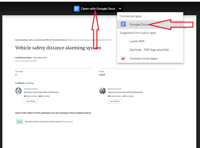 Select Google Docs under open with.