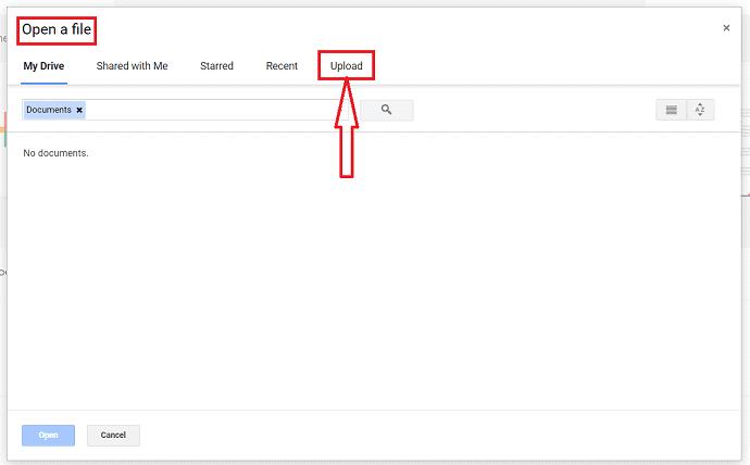 click on upload option.