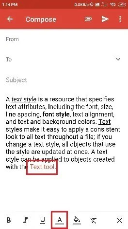 Selection of text color.