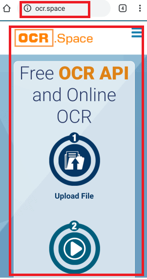 OCR.Space homescreen
